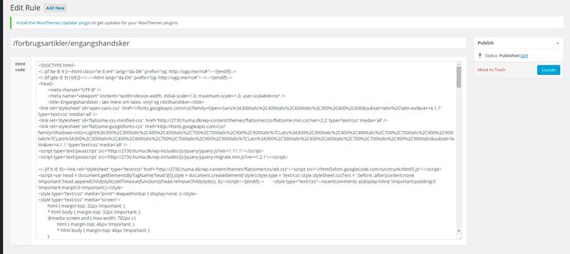 Simpelt setup hvor jeg indsætter ren HTML.
