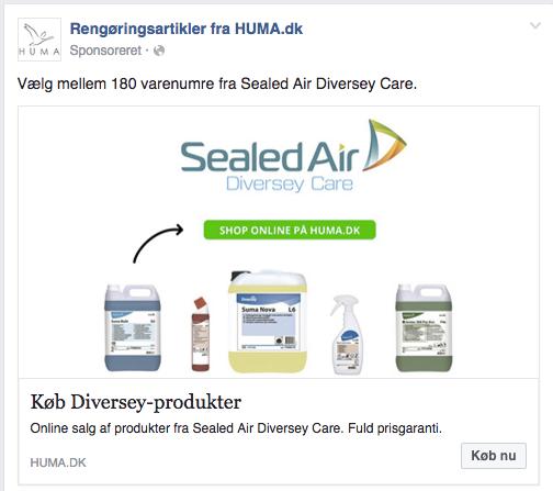 Eksempel på remarketing målrettet kunder på HUMA.dk som har kigget på rengøringsmidler fra en specifik producent.
