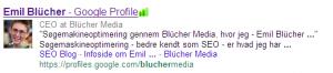 Eksempel på Google Profil i søgeresultaterne